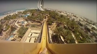 Самый страшный аттракцион в аквапарке Дубае, водная горка камикадзе «Leap of Faith» GoPro Hero 3