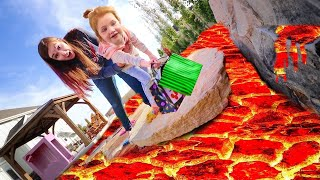 THE FLOOR IS LAVA CHALLENGE!! Dad Surprises Adley and Mom with Spooky Pumpkins in the Backyard!!