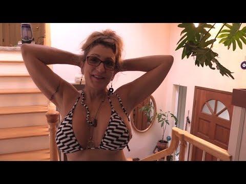 Bikini MILF Mom 55 – Washing the Stairs