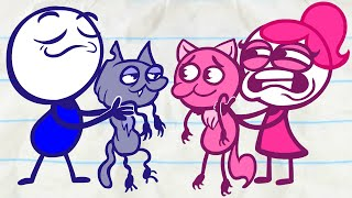Pencilmate & Pencilmiss 🐱🐶 CATS VS DOGS 🐱🐶 2020 Pets Compilation ❤ Cartoons