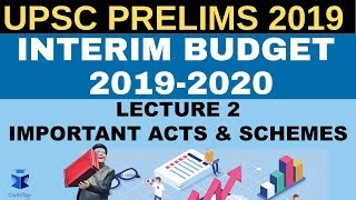 Interim Budget 2019-2020  for UPSC Prelims 2019 | Revise with MCQs | Lecture 2