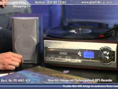 Q-Sonic Mini-HiFi-Anlage mit USB-Plattenspieler & MP3-Recorder