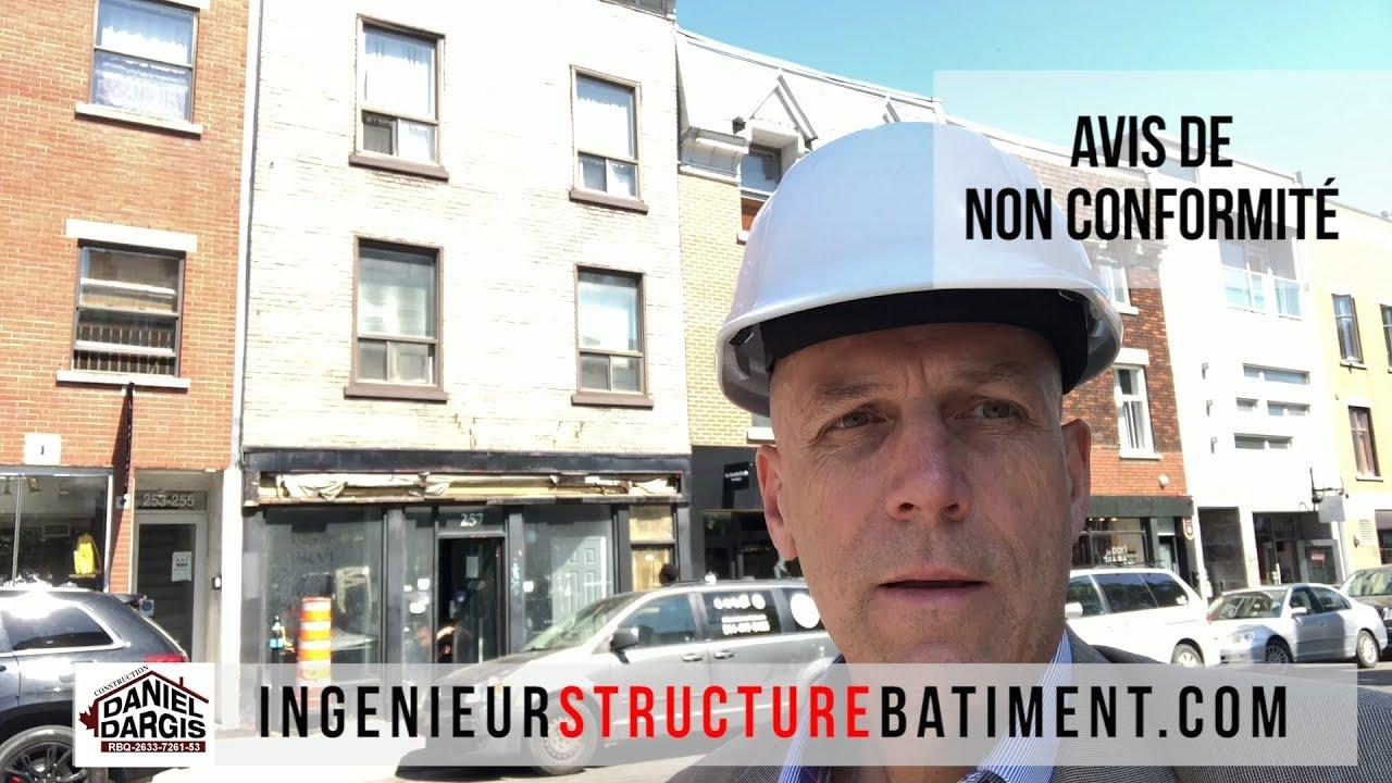 Avis de non conformité de la Ville de Montréal - Inspection de l'ingénieur en structure