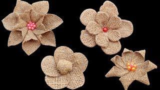 Making Easy 4 New Style Burlap Flowers || DIY Jute Craft Flowers Tutorial