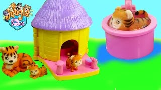 Mom & Baby Tigers Bath Water Play Playset Hut House Jungle In My Pocket Cookieswirlc Unboxing