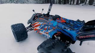DJI FPV on RC truggy basher. Traxxas E Revo 2.0 on snow bashing with FPV