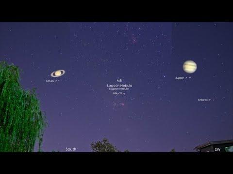Lagoon Nebula & Unknown Flyby, Plus Jupiter & Saturn