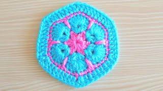 Tığ Işi çiçek Yapımı   Afrika çiçeği Motifi   African Flower / Crochet Flowers