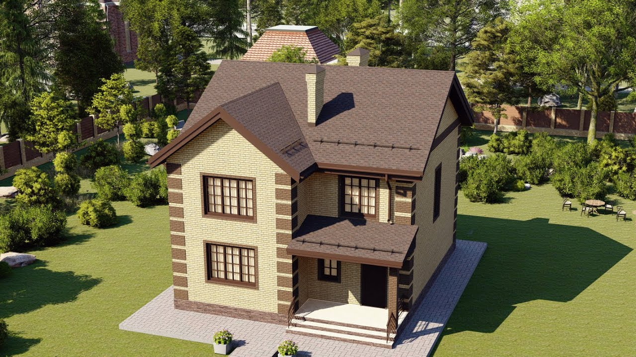 Проект бюджетного двухэтажного дома из газобетона 140 кв.м