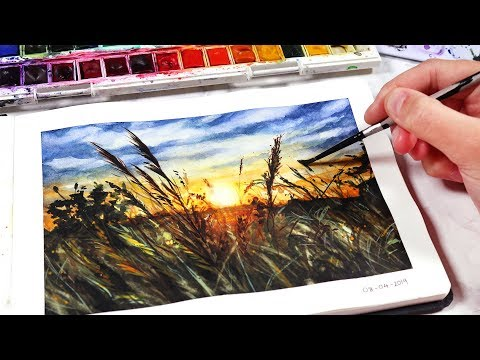 watercolor painting tutorials for beginners sunset by kirsty partridge