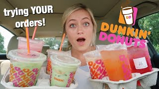 Trying My Subscribers Favorite Dunkin Donuts Drinks!