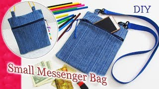 DIY Easy Way To Make Messenger Bag Purse  From Old Jeans - How To Recycle Jeans To Slim Shoulder Bag