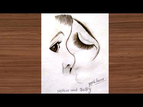 How to draw mother and baby| step by step 3D drawing|realistic pencil sketch|new drawing 2019
