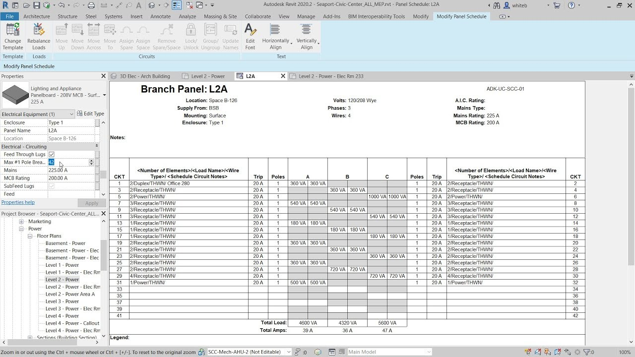 Revit 2020.2: Edit Circuits and Panels in Panel Schedule View