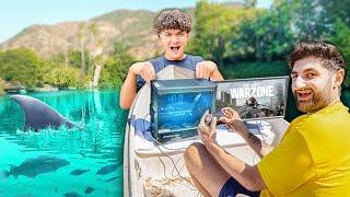 I Built A $10,000 Gaming Setup On A Lake!