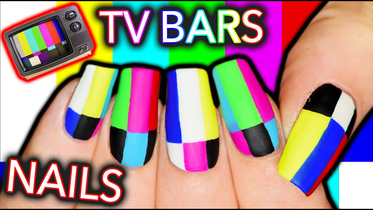 WHAT'S WRONG WITH YOUR TV?! Television Test Screen Bars Nail Art thumbnail