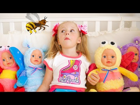 Настя и странные куклы пупсики Nastya vs baby bees Funny video for kids
