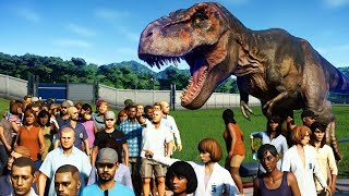 GIANT T-REX vs 3000 GUESTS in Jurassic World Evolution
