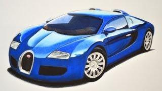Dibujando Carros Deportivos: Cómo Dibujar Un Bugatti Con Colores - Arte Divierte.