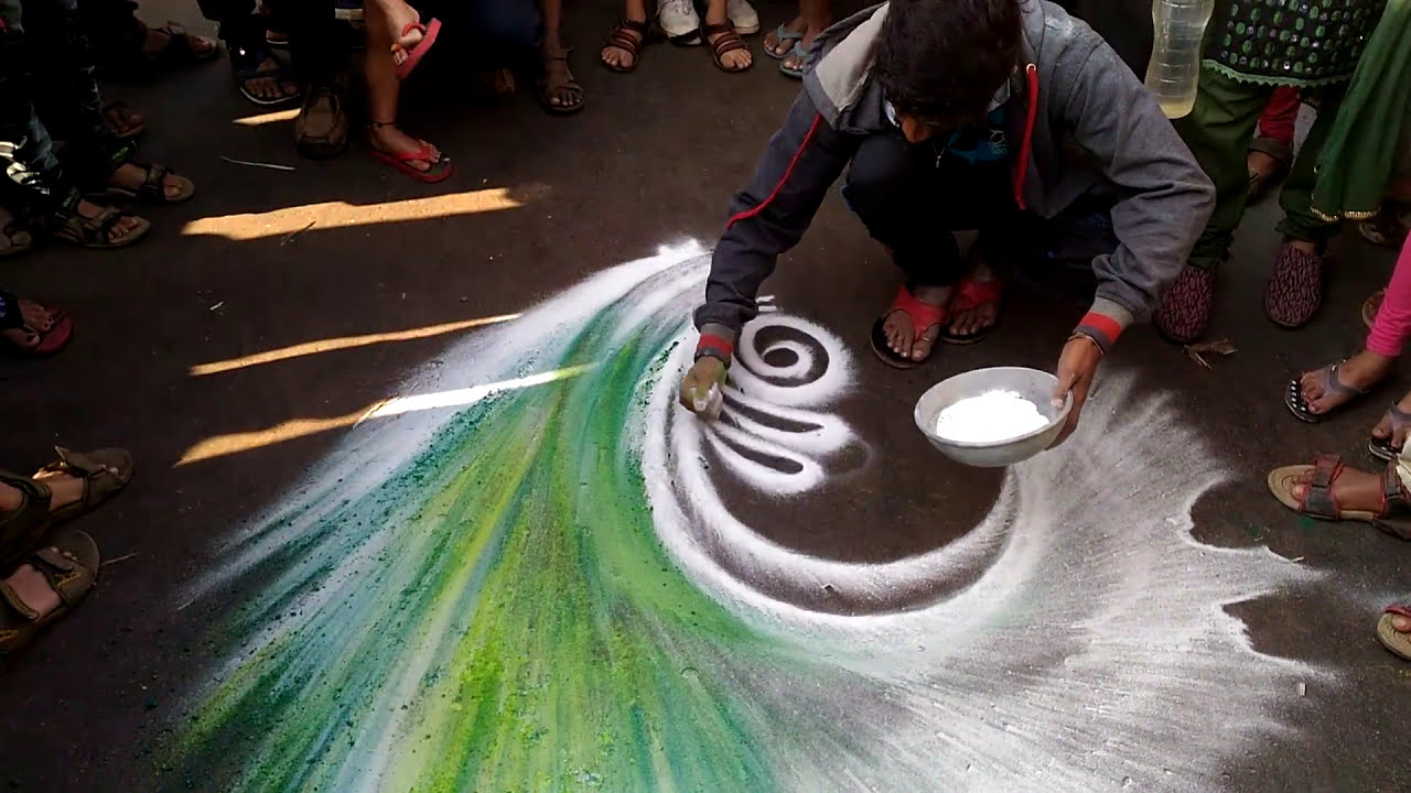 peacock rangoli design street art by rohit kambe