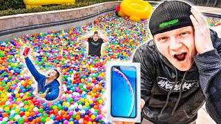 FIRST TO FIND iPHONE IN RAINBOW POOL BALL PIT!