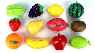 Fun Learning Names of Fruits with Toys | Velcro Fruit Cutting Playset for Kids