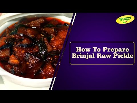 How To Prepare Brinjal Raw Pickle || Bharathi's Kitchen || YummyOne