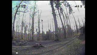 Racing drone in the forest
