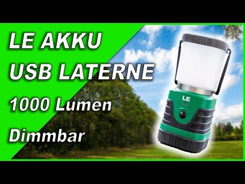 LED USB Akku Camping LATERNE 1000 Lumen dimmbar 💡Ausprobiert