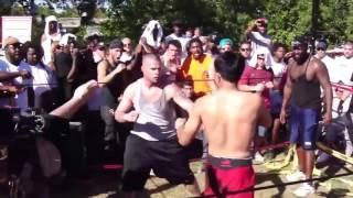 crazy backyard fight with knockout