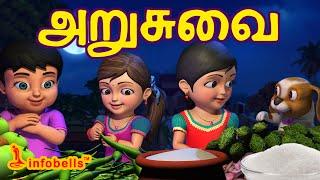அறுசுவை | Tamil Rhymes for Children | Learn Tastes | Infobells