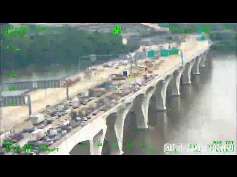Helicopter Captures Rescue After Fatal Crash On Woodrow Wilson Bridge