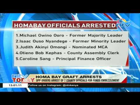 DPP orders arrest of 7 Homa Bay county officials for funds embezzlement