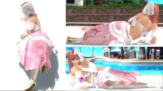 """【DOAXVV】POSE """"Sideways & Laugh elegantly -Fuhuhu- """" BY HONOKA - 3 VIEWS  【ポーズ / 横寝 うふふ】"""