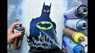 BATMAN Son Of Gotham  GLOW IN DARK - SPRAY PAINT ART By Skech