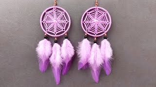 How To Make Dreamcatcher Earrings | DIY Macrame Dream Catcher Earrings | Handmade Jewelry Tutorial