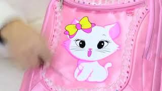 Tas Sekolah Ransel Set 3in1 Lucu Kucing Korea Waterproof Tahan Air