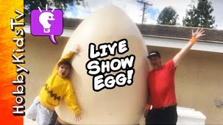 World's Biggest LiVE SHOW Egg! Surprise Toys + Monster Putty with HobbyKidsTV