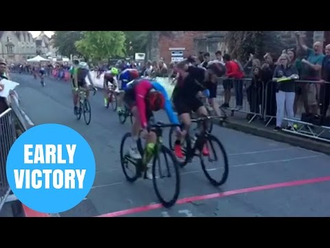Hilarious Video Of Cyclist Celebrating Too Early