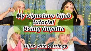 HIJAB TUTORIAL USING DUPATTA   INNER CAP TUTORIAL   HIJAB STYLE FOR EARRINGS   EID SPECIAL
