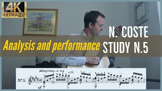 Napoleon Coste, study n. 5 op. 38. Analysis and Performance.
