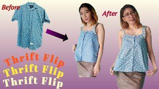 Thrift Flip : Mens Shirt Into Buttons Tank Top / #8