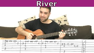Fingerstyle Tutorial: River (Joni Mitchell) - Guitar Lesson w/ TAB