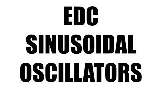 SINUSOIDAL OSCILLATORS | EDC|BSNL JE(TTA)|JTO|ENGINEERING EXAMINATIONS