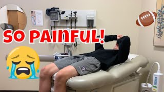 hurt playing football! SENT TO THE ER!