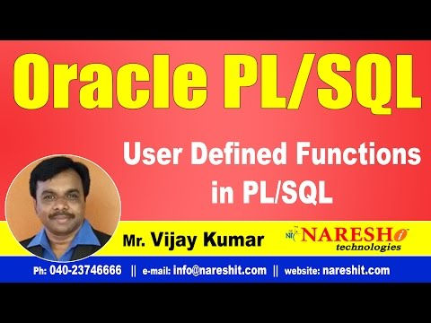 User Defined Functions in PLSQL | Oracle PL/SQL Tutorial Videos | Mr.Vijay Kumar