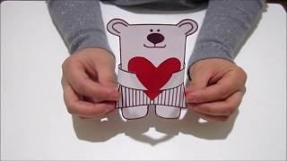 Мишка с сердечком из бумаги,своими руками.