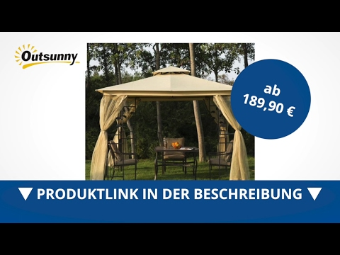 Outsunny Luxus Pavillon Partyzelt Festzelt Pagode 3x3 m - direkt kaufen!