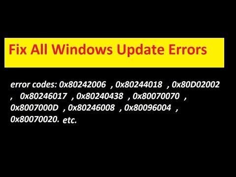 How to fix Windows update errors / windows update error
