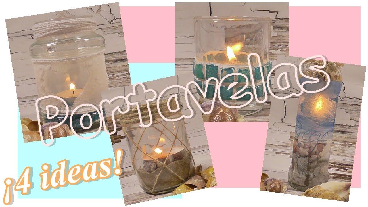 Cuatro ideas para decorar portavelas de cristal. Reciclar tarros